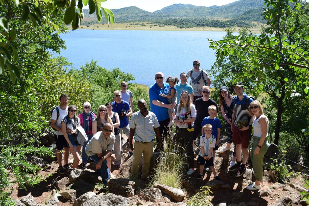 Group photo with Mankwe Dam in the background